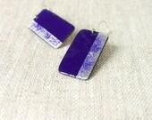 Blue dangle earrings - handmade earrings - blue silver enamel geometry - artisan jewelry by Alery
