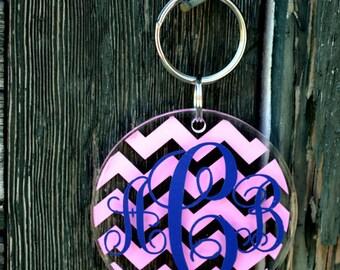 Chevron ROUND Acrylic Keychain - Personalized - Stocking Stuffers - Bridesmaid Gifts - Big Little Sorority