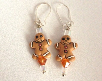Tiny Gingerbread Man earrings with Swarovski crystals and Sterling Silver kidney earwires -  Kid's Girl's Children's - brown white gold