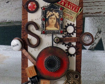 CUT NO MORE Original Art Assemblage from Vintage Hardware and Found Objects