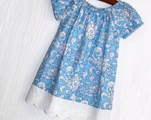 Vintage Summer Garden blue and white floral peasant dress in Sizes 2T, 3T, 4, 5, 6, 7, 8