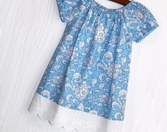 Vintage Summer Garden blue and white floral peasant boutique dress in sizes 3 months 6 months 9 months 12 months 18 months 24 months