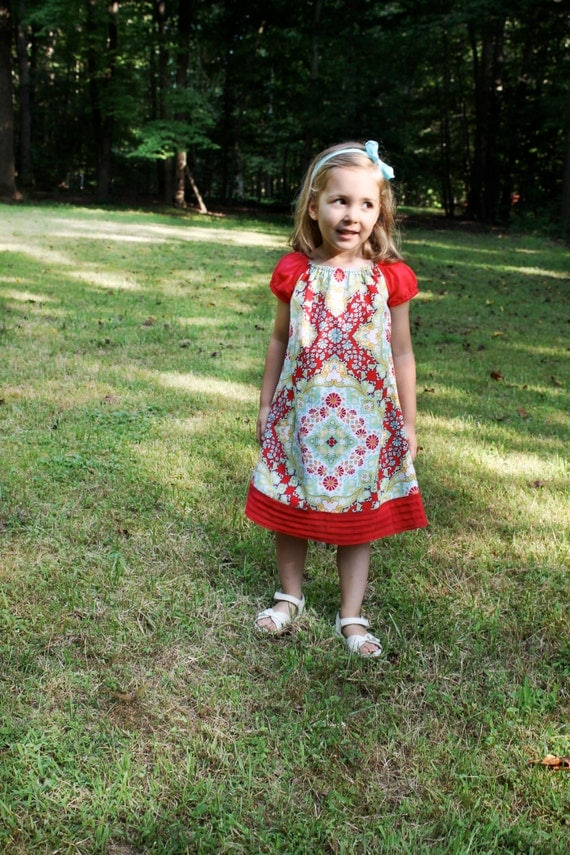 LAST ONE sale. Red and Aqua Kaleidoscope Poppy girls peasant dress in Size 5T