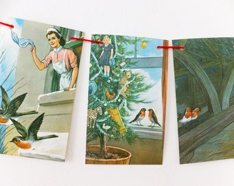 Robin Bunting, Banner upcycled from vintage Ladybird Book, The Wise Robin, Christmas decor, party decoration, recycled garland