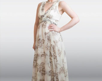 CLOSING DOWN CLEARANCE 1950's Cream and brown rose print maxi