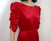 80s Ruby Red Velvety Puff Sleeve New Wave Dress- m - l
