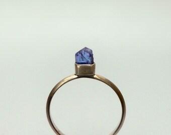 Tanzanite Ring in Recycled Silver -  Natural Tanzanite Raw Crystal Ring
