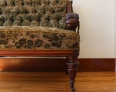 Antique Tufted  & Carved Settee - JulesVernonVintage