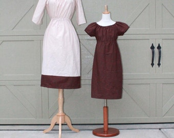 Mother Daughter Matching Dresses in Ivory and Brown