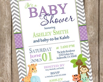 Baby Safari Baby Shower Invitation Invite  Printable Invitation  Safari1