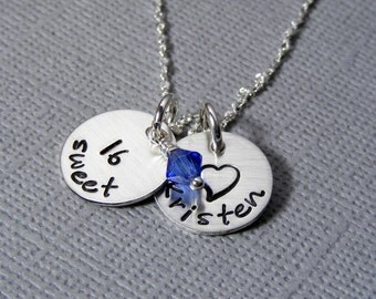Personalized Sweet 16 necklace hand stamped sterling silver sweet 16 gift