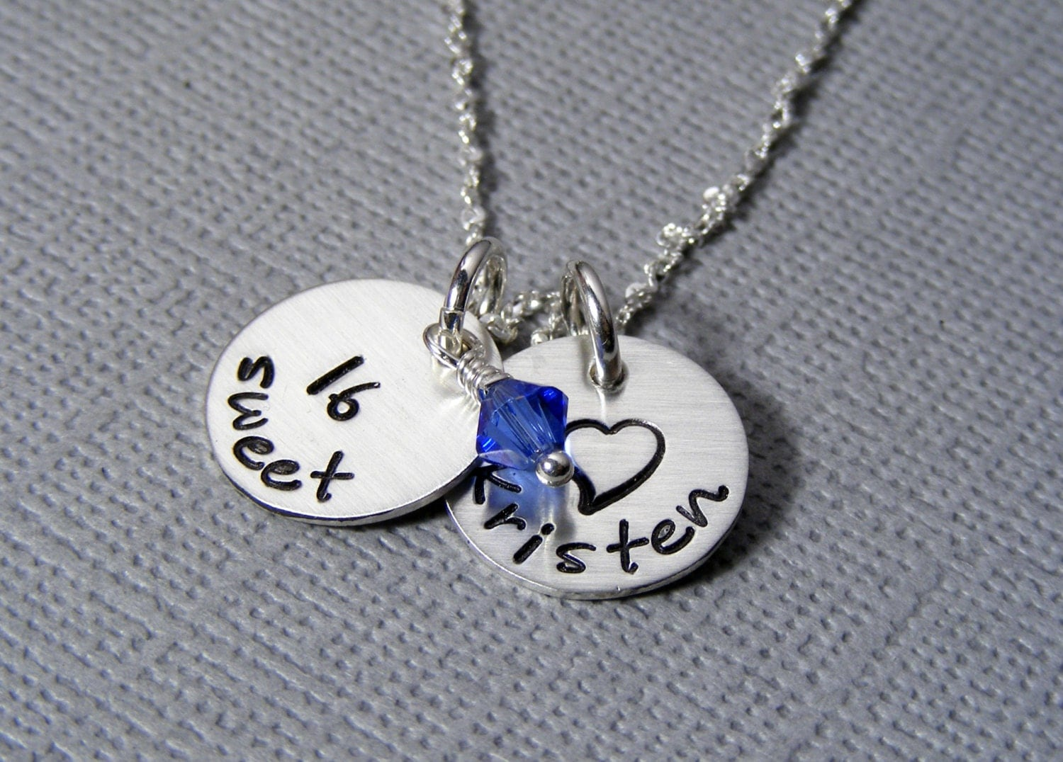 Personalized Sweet 16 Necklace Hand Stamped Sterling Silver