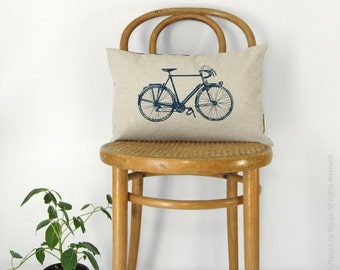 12x18 Modern Lumbar Pillow Case | Vintage Bicycle Cushion Cover in Natural Beige, Navy Blue & Ikat Accent | Mid Century Home Decor