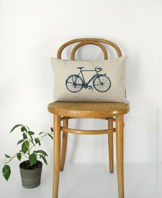12x18 or 16x16 Modern Lumbar Pillow Case   Vintage Bicycle Cushion Cover in Natural Beige, Navy Blue & Ikat Accent   Mid Century Home Decor