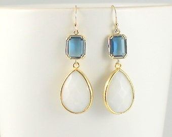 Blue and White Earrings in Gold - White Jade earrings, Blue Sapphire, Bridesmaids Gift, Everyday Earrings, Statement Jewelry, Gift