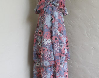 Abigail's Party Dress - 1970's Floaty Poppy Print Halter maxi Dress - size 6 - 8