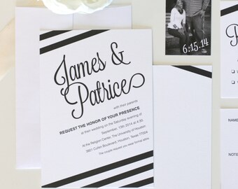 Black and White Striped Wedding Invitation, personalized and elegant for your wedding, bachelorette party, birthday celebration, and more