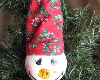 Snowman Up-Cycled Lightbulb Christmas Ornament