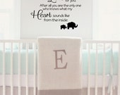 No One Else Will Ever Know the Strength of My Love For You Nursery Vinyl Wall Decal - Vinyl Wall Art Decal, Elephant Decals, Bedroom 36x31.3