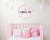 Custom Name & Monogram Dotted Circle - Vinyl Wall Art, Children's Name Vinyl Decal, Home Decor, Bedroom, Children's Vinyl Lettering, 20x20