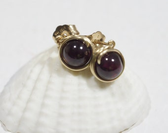 Red Garnet Earrings Stud Earrings Wire Stud Earrings 14K Gold Filled Earrings