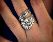 Silver Tiger Lily Ring, Sterling Silver Spoon Ring, Stargazer Lily, Frontenac Victorian Era Floral Ring, Gift For Her, Custom Ring Size 5917