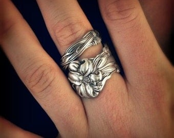 Silver Tiger Lily Ring, Sterling Silver Spoon Ring, Stargazer Lily, Frontenac Victorian Era, Floral Ring, Gift For Her, Custom Ring Size