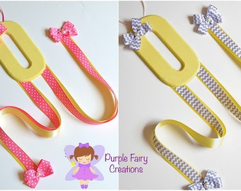 Initial Letter Hair Accessories Organizer - Yellow, Lavender, Gray Chevron or Pink (Hair Bow & Headband Holder) Baby Girl, Girl or Teen Room