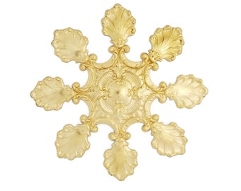 Raw Brass Stamping Victorian Style Huge Snowflake Shell Focal Heirloom Quality for Jewelry Making Made in the USA Dr Brassy Steampunk