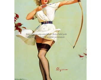 Pinup Girl w Bow and Arrow Archery Magnet - Repro Gil Elvgren