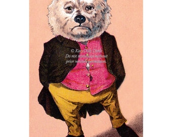 Wall Street Bear Card - Polar Bear in Red Vest - Repro Victorian Trade Card
