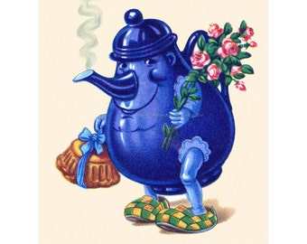Get Well Card - Little Teapot Greeting Card - Vintage Image