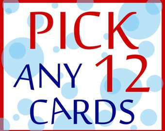 12 CARDS FOR 33 - Buyer's Choice - Pick Any 12 Cards from the Seas and Peas Shop - Funny Card - Card for Friend - Card for Boyfriend - Card