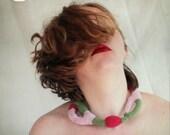 regrepink - freeform crochet OOAK necklace