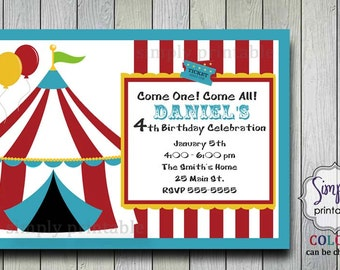 Circus Theme Birthday Party Invitation