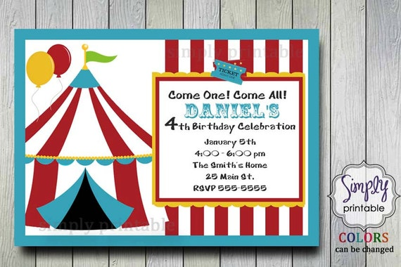 Circus Theme Birthday Party Invitation