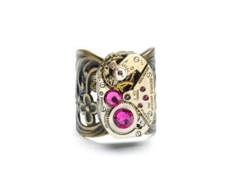 HOT PINK Steampunk Ring Steam Punk Ring Steampunk Watch Ring FUCHSIA Vintage Antique Brass Ring Steampunk Jewelry By VictorianCuriosities