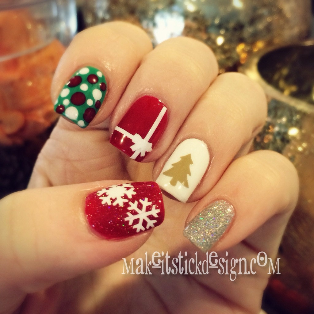 Xmas Nail Transfers: Christmas Tree Nail Decals Set Of 50 YOU By MakeitStickDesigns
