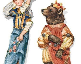 Beauty and the Beast  paper dolls vintage images articulated collage craft sheets