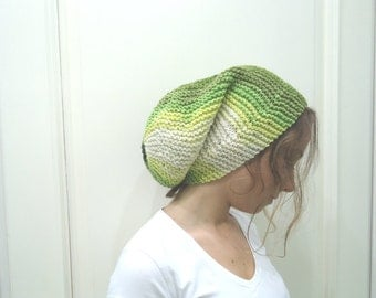 Hand knitted Womens- SLOUCHY BEANIE HAT-shade of green