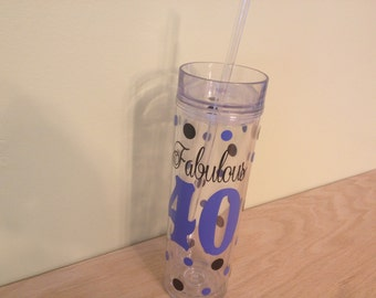 Fabulous 40, Personalized w/name acrylic tumbler, polka dots, Available in skinny, standard, sport bottle, mason, kiddie cup & XL cup