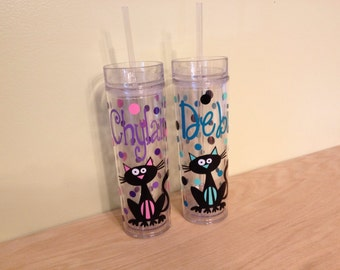 Cute cat design or dog Personalized w/name acrylic tumbler, polka dots, Available in skinny, standard, sport bottle, mason, kiddie & XL cup