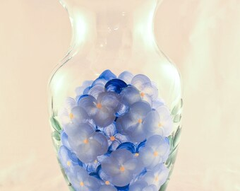 Hand Painted Hydrangea Flowered Vase