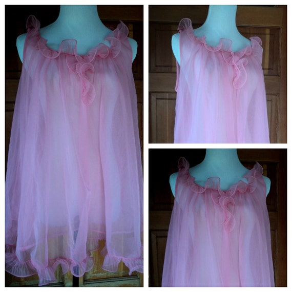 Vintage 60s Babydoll Nightgown Pink Nightie By