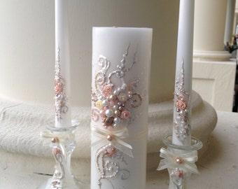 Beautiful wedding unity candle set in ivory, champagne and blush pink, perfect set for your unity ceremony