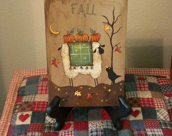 Hand painted Fall Primitive Sheep and Crow painting on canvas panel - OFG