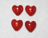 Four 4 Big 28mm Red Glass Hearts