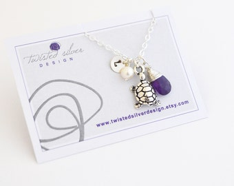 Personalized Turtle Necklace, African Amethyst, February Birthstone, Sterling Silver Chain,