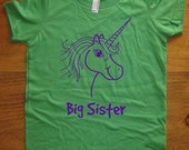 Big Sister Shirt - 8 Colors Available - Kids Big Sister T shirt Unicorn Shirt - Sizes 2T, 4T, 6, 8, 10, 12 - Gift Friendly