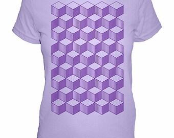 Geometric Womens Shirt - Womens Tribal Tshirt - Geometry / Tumbling Blocks Quilt Shirt -  Womens Shirt - 4 Colors Available -  S, M, L, XL